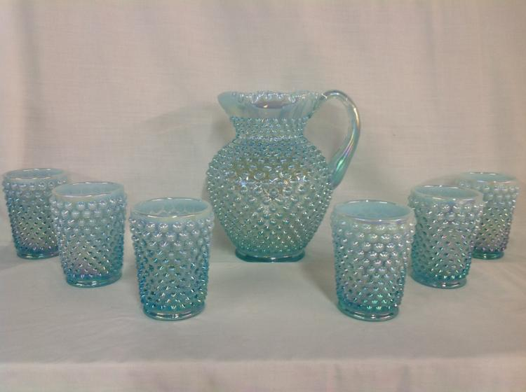 Unmarked Hobnail Blue Iridescent Water Set with 6 Glasses
