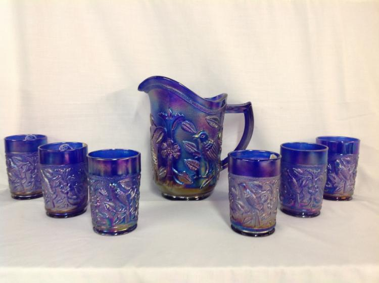 Imperial Glass 6 Glasses Blue Cobalt Iridescent Songbirds
