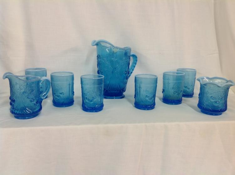 Westmoreland Cherry Pattern Water Set with 6 Glasses, With Creamer and Sugar