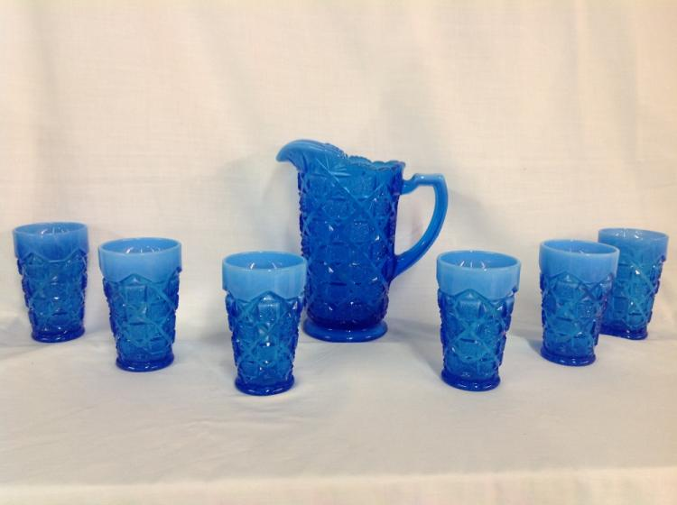 Westmoreland Blue Checkerboard Water Set with 6 Glasses