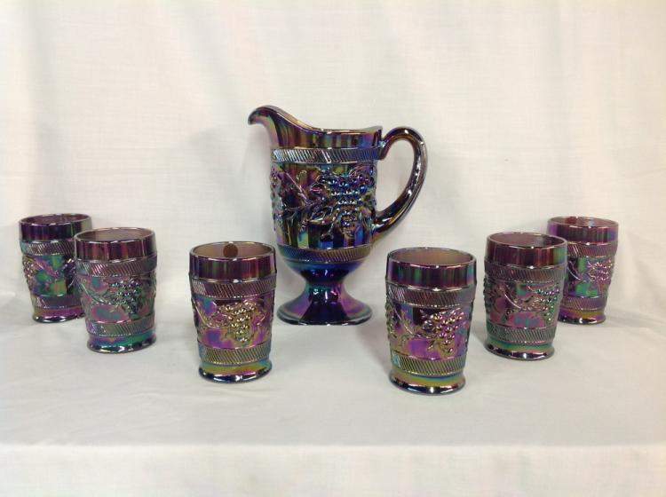 L.G. Wright Grape and Cable Water Set with 6