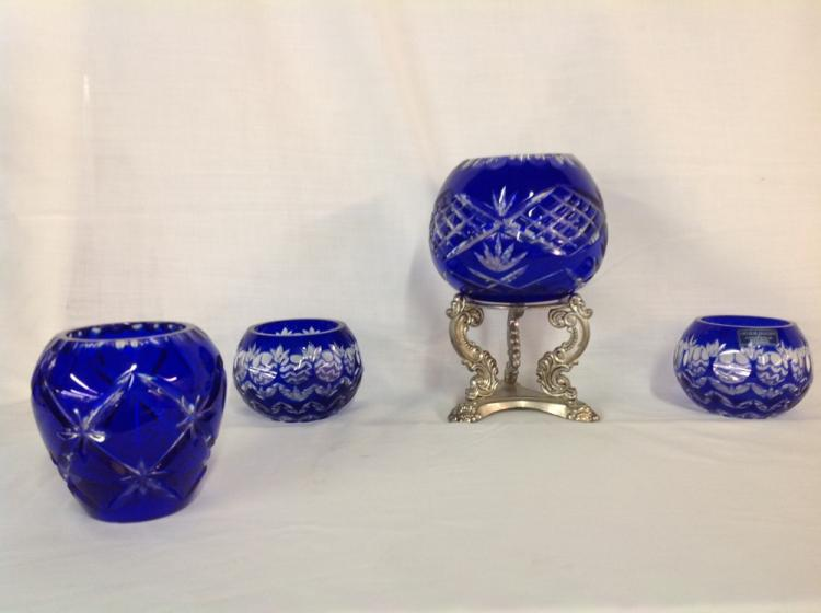 4 Bowls Cut to Clear Blue Handcut Crystal