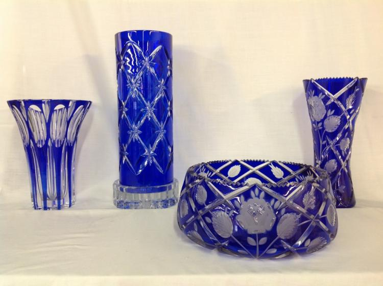 Assorted Cut to Clear Cobalt Blue Crystal Vases and Bowl