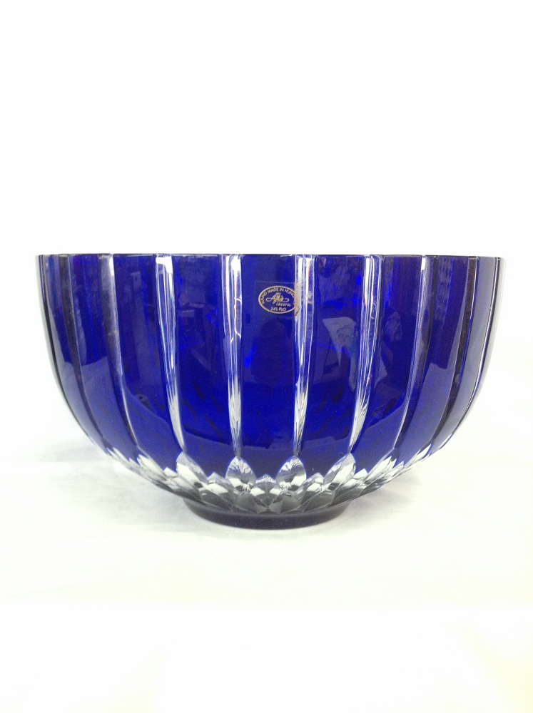 Large Cut to Clear Bowl-Blue