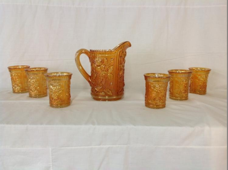 Imperial Glass Amber Climbing Rose Water Set
