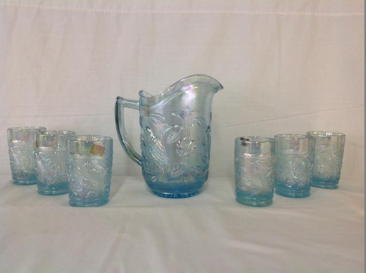 Imperial Glass Light Blue Bird Water Set