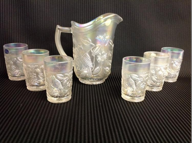 Imperial Glass Clear Song Bird Iridescent Water Set
