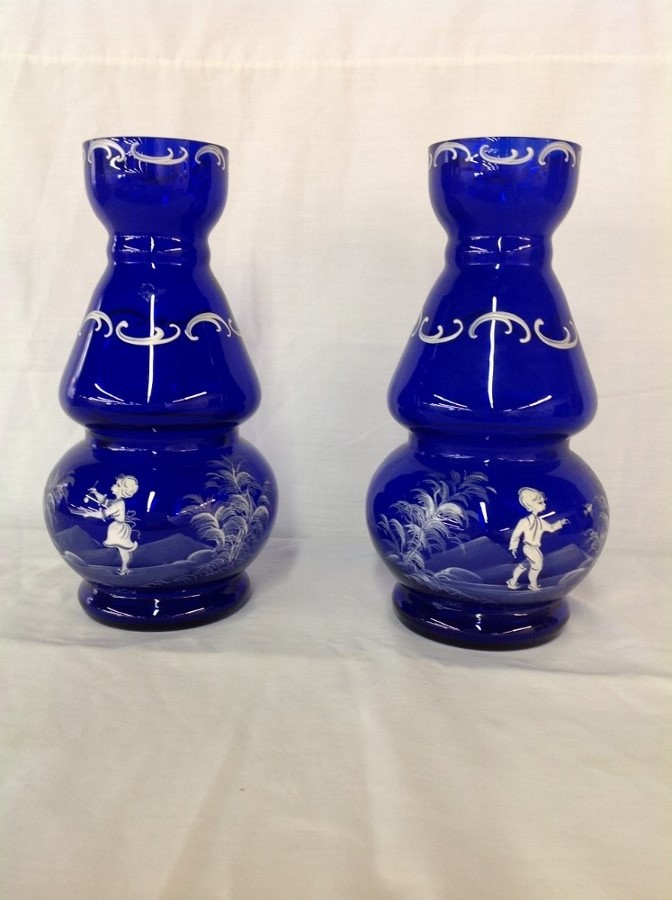 Mary Gregory Hand Painted Vases Pair Cobalt Blue