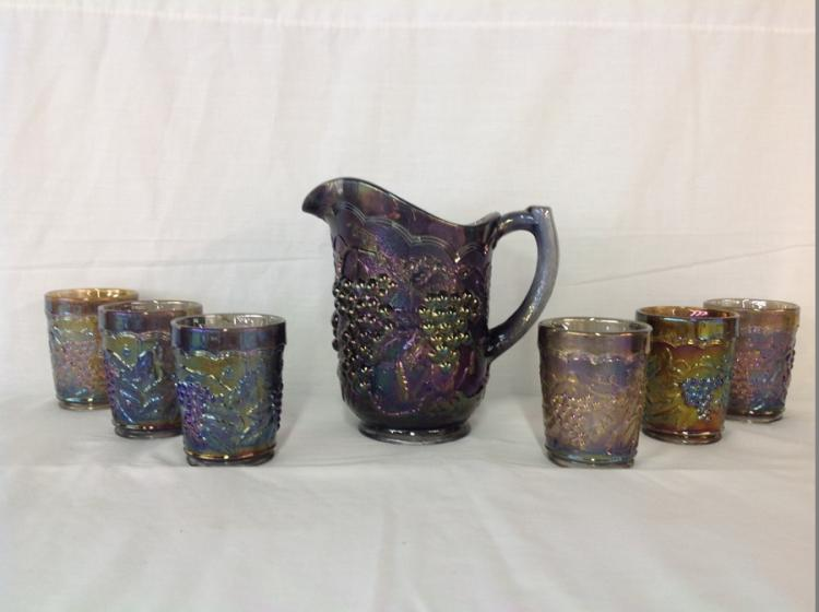 Imperial Glass Charcoal Iridescent Grape and Cable Water Set