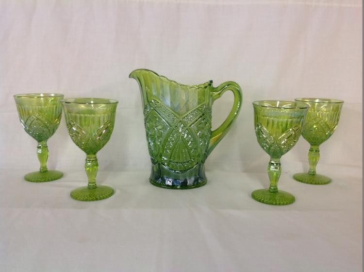 Unmarked 4 Goblets and Water Pitcher Green