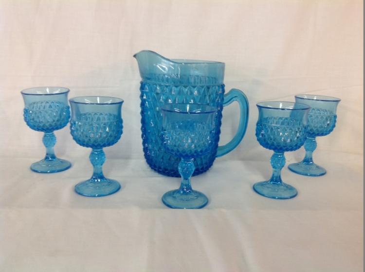 Unmarked Blue Diamond Pitcher and 5 Goblets