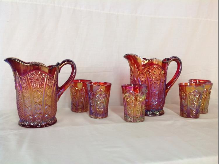 Unmarked Red Amber 2 Pitcher 6 Glasses