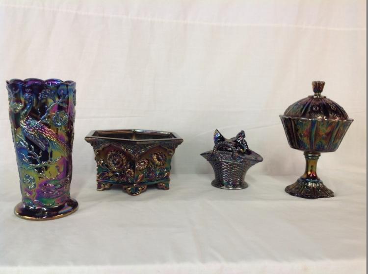 Westmoreland Iridescent Hen on a Basket Dish, Fenton Peacock Vase, Fenton Covered Daisy Pattern Candy Dish, Fenton Footed Bowl with Daisy Pattern