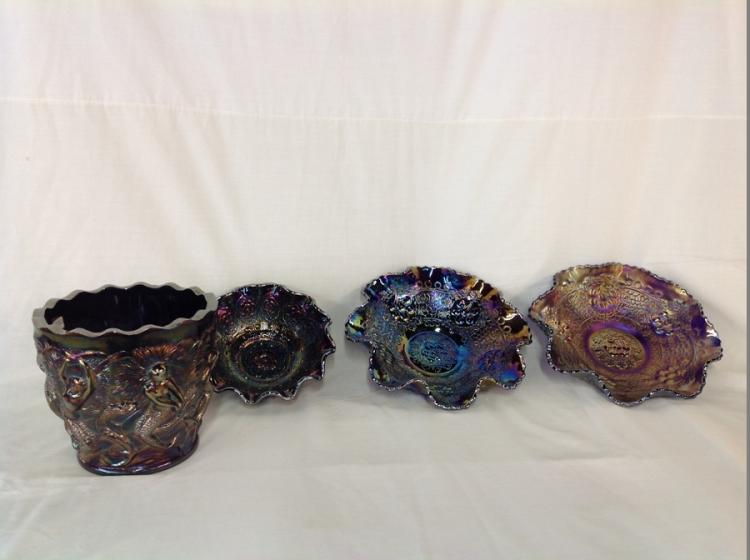 3 Fenton Bowls, Magnificent Fenton Centerpiece Bowl