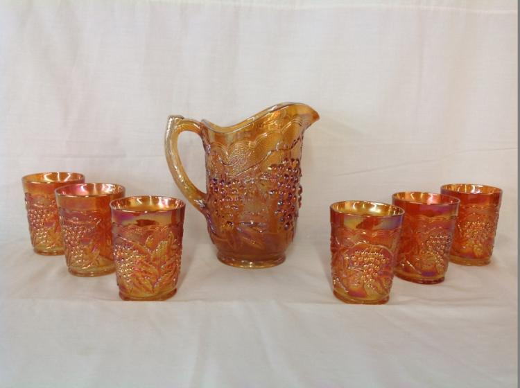 Imperial Glass Amber Grape and Cable Water Set with 6 Glasses