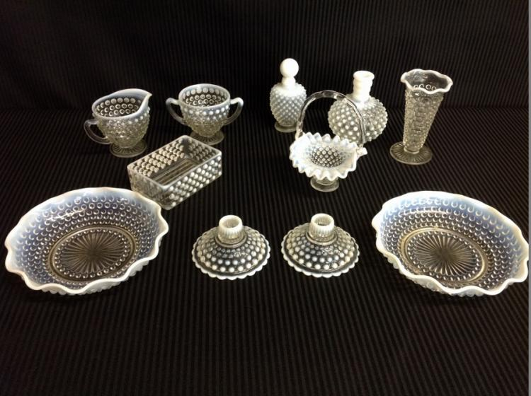 11 Pcs of Clear Hobnail White Frosted Trim Glassware