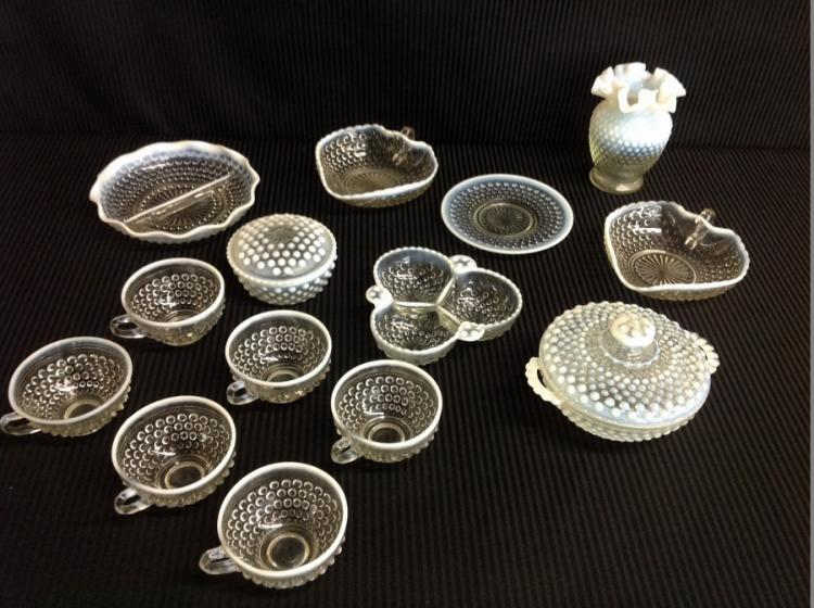 14 Pcs of Clear Hobnail White Frosted Trim Glassware