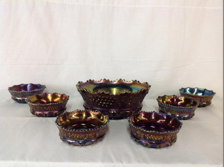 Northwood 7 Bowl Set Iridescent Blue Grape and Cable Pattern
