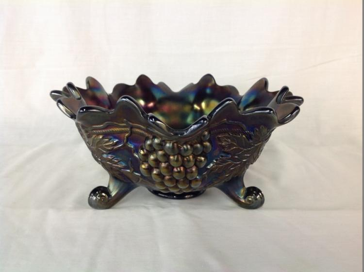 Northwood Blue Iridescent Large Footed Bowl