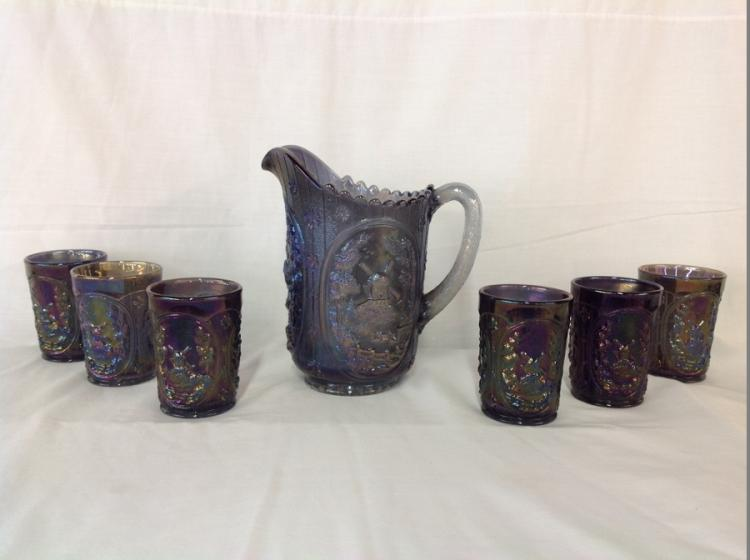 Imperial Glass Charcoal Windmill Water Pitcher Set