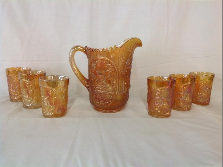 Imperial Glass Amber Water Pitcher Set with 6 Glasses