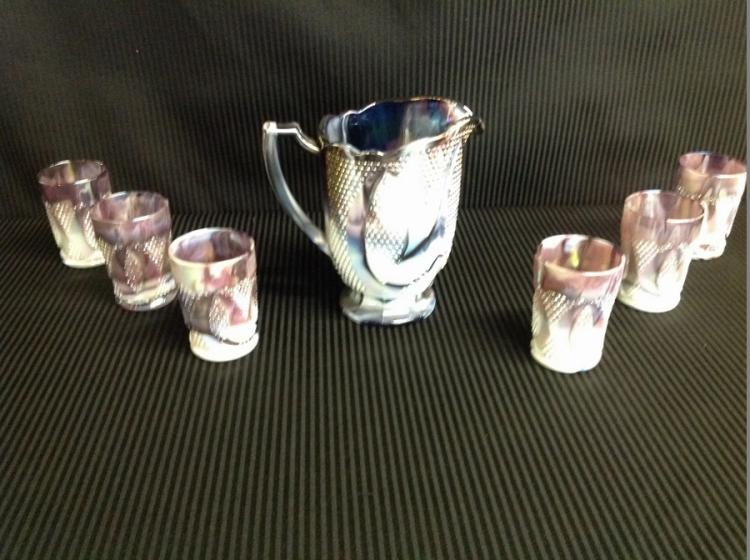 Unmarked Purple Slag Glass Water Set Diamond Pattern
