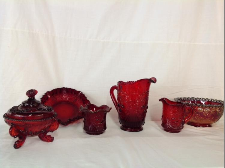 Imperial Glass Iridescent Blue Bowl, Red Glass, Creamer, Sugar, Imperial Glass Red Grape and Cable, Westmoreland Red Candy Dish
