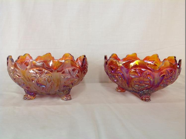 2 Imperial Glass Amber Iridescent Footed Bowls