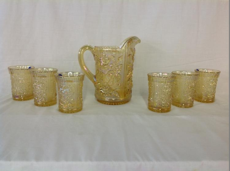 Imperial Glasses Yellow Rose Pattern Water Set