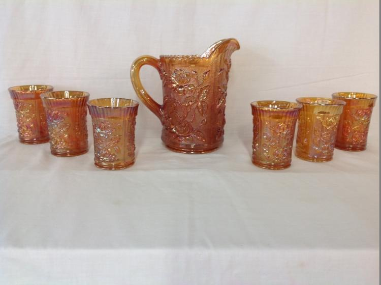 Imperial Glass Amber Rose Pattern Water Set