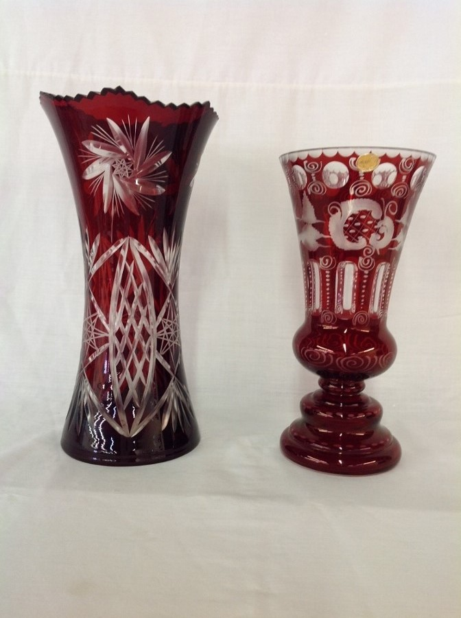 1 Red Cut to Clear Pinwheel Design, 1 Cut to Clear Bohemia Glass
