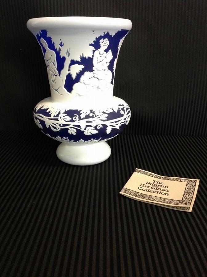 Blue'White Pilgrim Art Glass Vase
