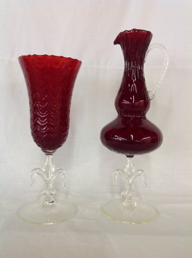 Clear and Cranberry Red Pitcher and Vase