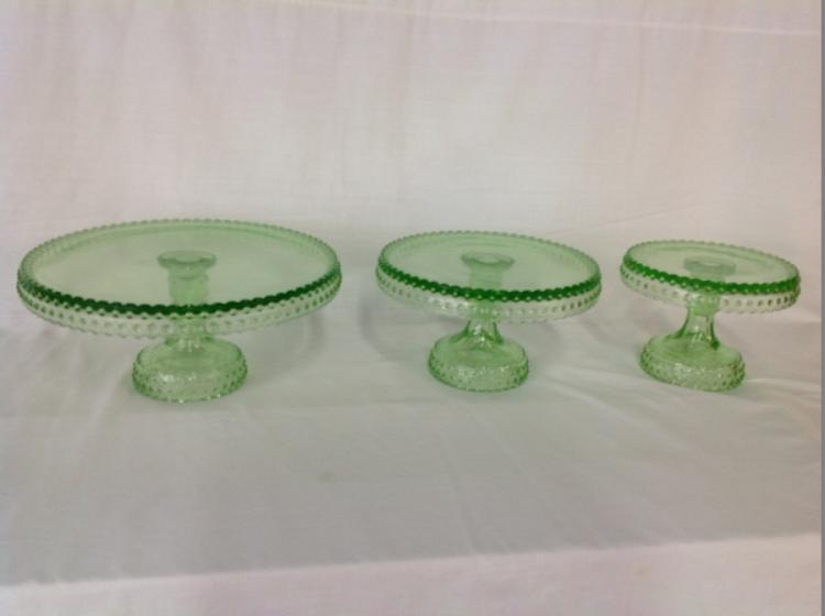 Green Depression Hobnail Pattern Cake Plates Set of 3