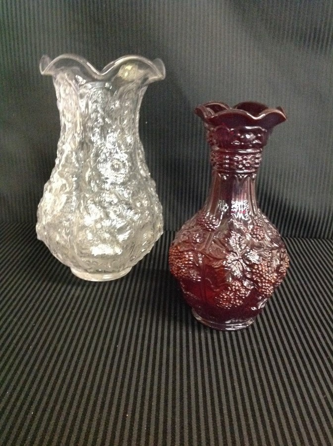 Pair of Large Imperial Glass Vases Red and Clear