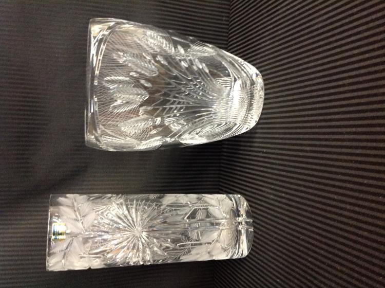 2 Handcut Crystal Vases