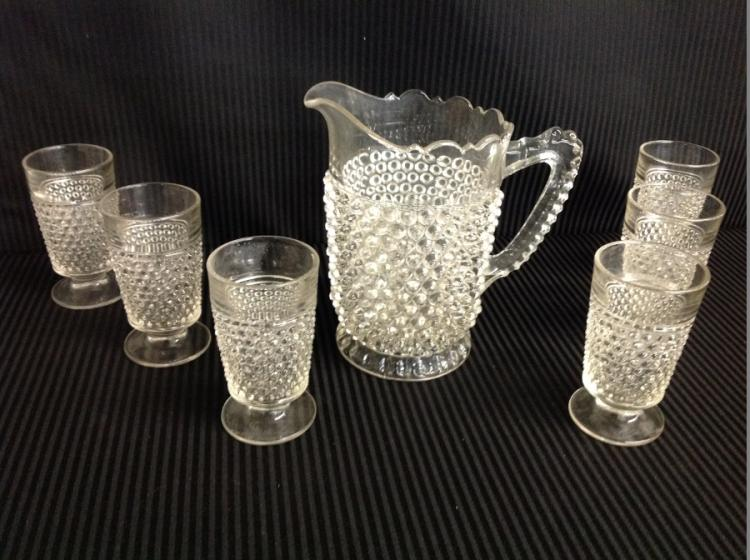 Clear Hobnail Water Set Pitcher with 6 Glasses