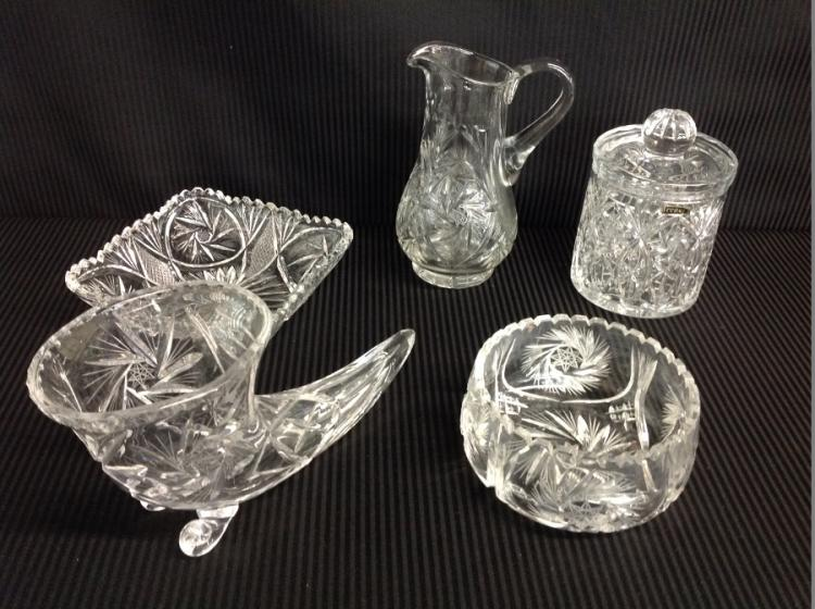 5 Pcs of Heavy Cut Crystal Pitcher, Bowl, Candy Dish with Lid, 2 Bowls