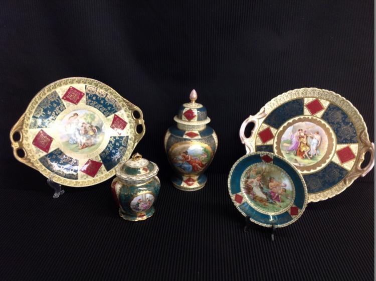 Lot of 5 Pcs: Beehive 2 Ginger Jars, 2 Large Platters, 1 Plate