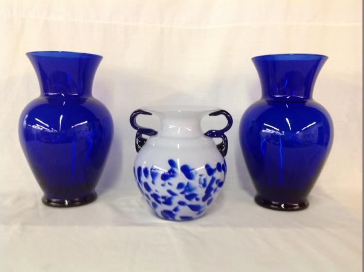 2 Cobalt Vases, Cobalt and White Art Vase