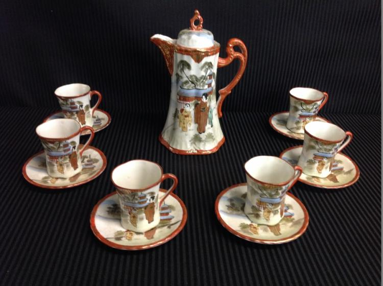 Chocolate Set Pot, 6 Cups, and Saucers