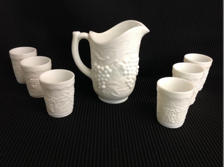Imperial Glass Milk Glass Water Pitcher Set Grape and Cable Design