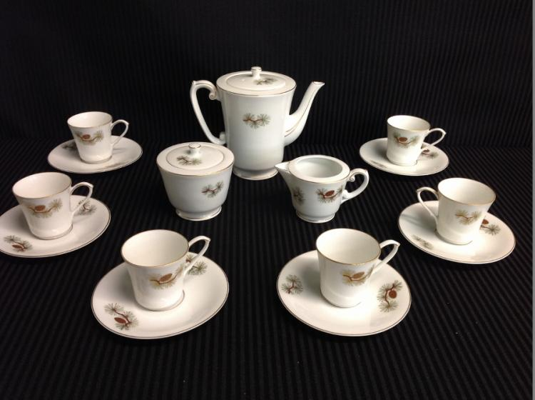 Fukagawa Arita Handpainted 6 Cups and Saucers, Creamer, Sugar