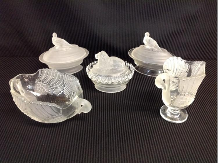 Lot of 2 IG Covered Dishes w/Pheasants: Clear Makasa Walter Crystal Pitcher & Centerpiece Bowl From Germany