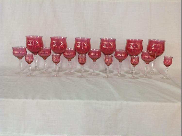 18 Assorted Cranberry Stemware