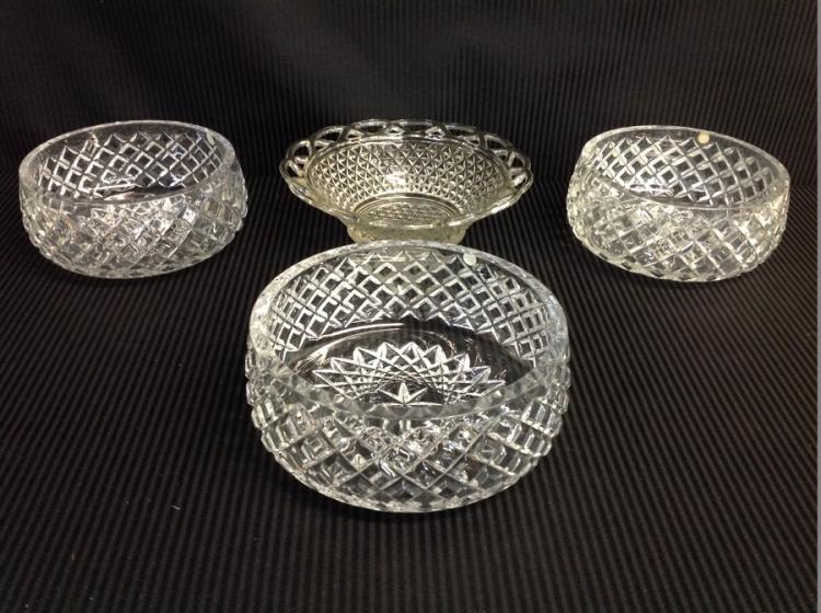 3 Handcut Crystal Bowls
