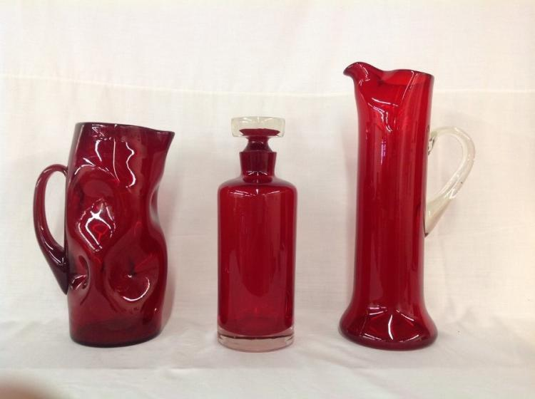 Assorted Red Pitchers and Decanter - Lot of 3