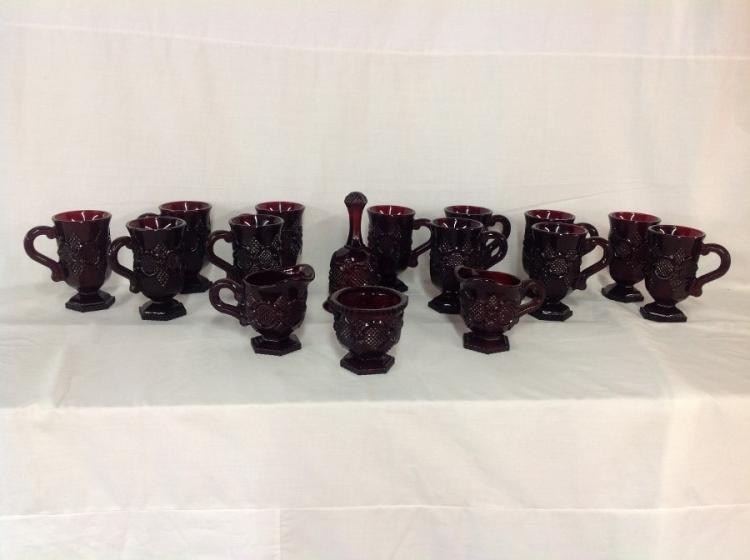 Avon Ruby Red Mugs, Creamers, Sugar, Bell