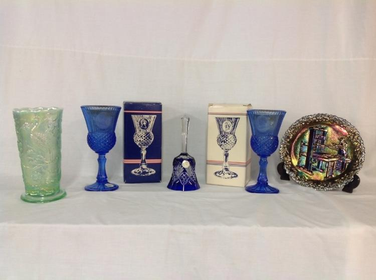 Assorted Glassware Avon Blue George & Martha Washington Fostoria Candle Holders in Original Boxes Unmarked Cut to Clear Blue Bell Fenton Craftman Plate Green Iridescent Peacock Vase