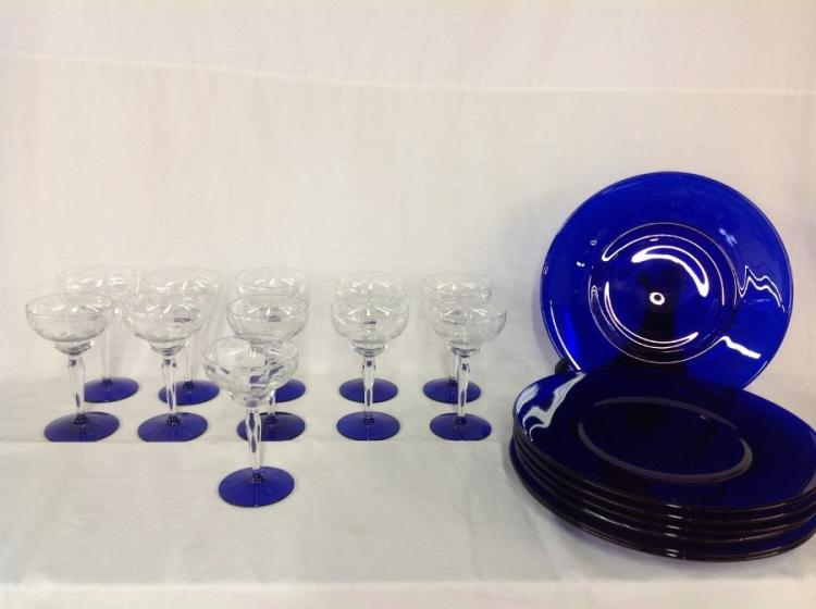 Cobalt Blue and Clear Dinnerware